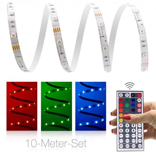 Classic 12V RGB LED Streifen 10m Set 30 LED/m - mit 44-Tasten-Infrarotfernbedienung