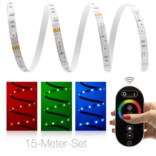 Classic 12V RGB LED Streifen 15m Set 30 LED/m - mit Funkfernbedienung