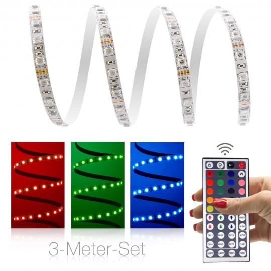 Classic 12V RGB LED Streifen 3m Set 60 LED/m - mit 44-Tasten-Infrarot-Fernbedienung