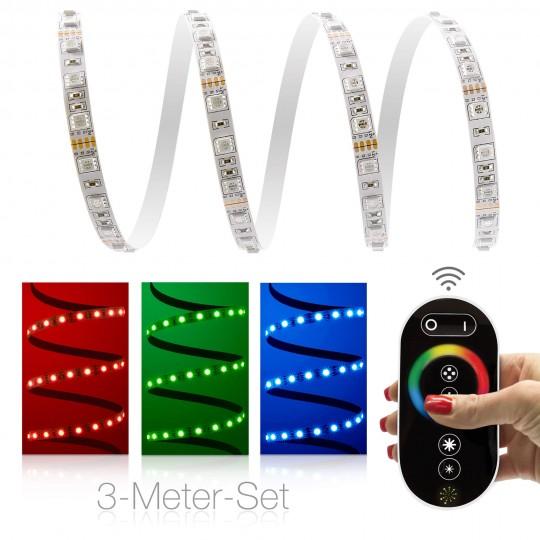 Classic 12V RGB LED Streifen 3m Set 60 LED/m - mit Funkfernbedienung