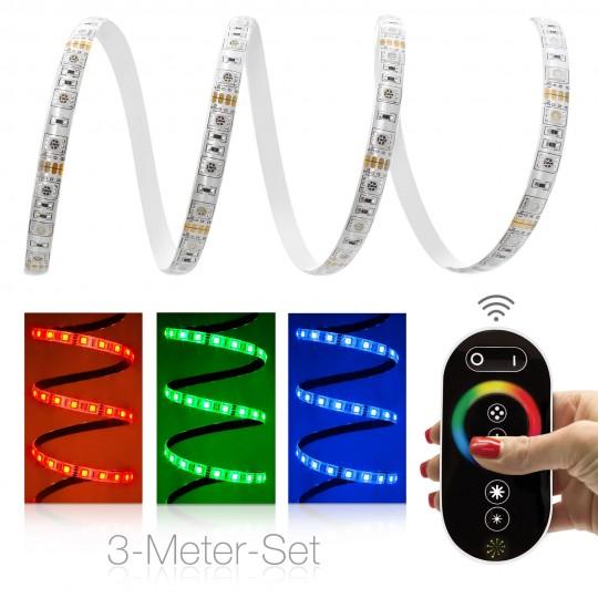 Comfort 12V RGB LED Streifen 3m Set 60 LED/m - mit Funkfernbedienung