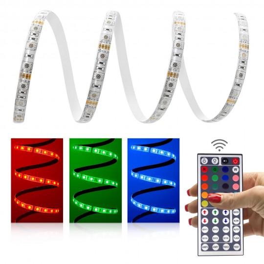 Comfort 12V RGB LED Streifen Set 60 LED/m - mit 44-Tasten-Infrarotfernbedienung