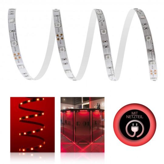 Classic 12V LED Streifen Set rot 30 LED/m - mit Netzteil