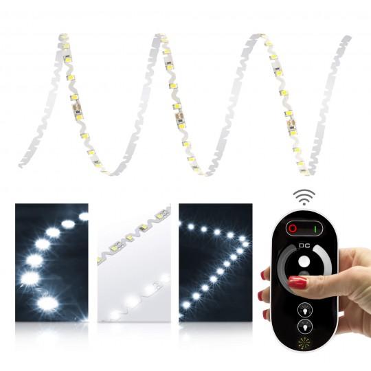 Premium 24V S-Shape Streifen - 72 LED/m - kaltweiß - Set mit Funkfernbedienung