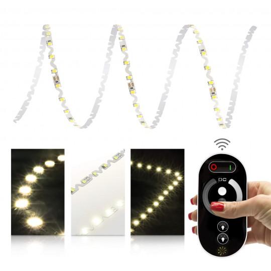 Premium 24V S-Shape Streifen - 72 LED/m - warmweiß - Set mit Funkfernbedienung