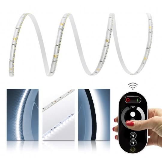 Premium 24V LED SideView Streifen Set 120 LED/m - kaltweiß - mit Funkfernbedienung