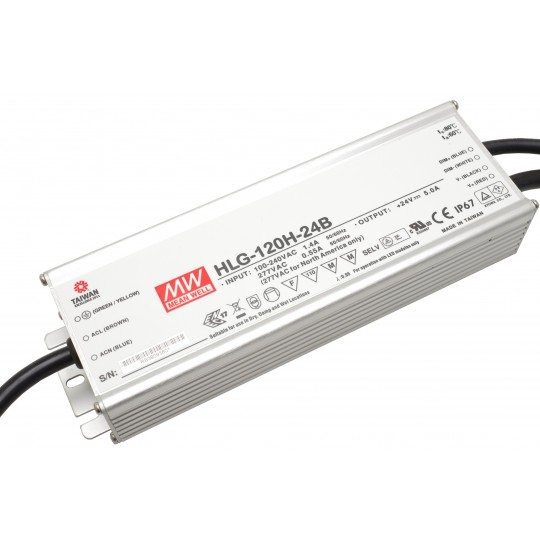 Dimmbares LED Netzteil MeanWell MeanWell HLG-120H-24B 120 W 24 V/DC 5 A LED Konstantspannung (Default)