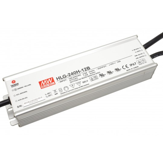 Dimmbares LED Netzteil MeanWell MeanWell HLG-240H-12B 240 W 12 V/DC 20 A LED Konstantspannung