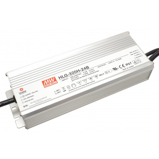Dimmbares LED Netzteil MeanWell MeanWell HLG-320H-24B 320 W 24 V/DC 13,33 A LED Konstantspannung