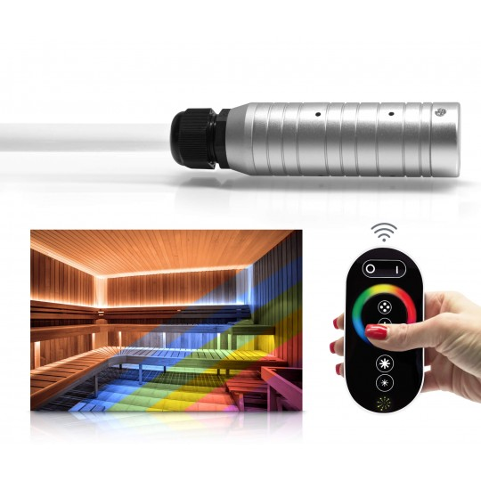 RGBW-Lichtwellenleiterset mit Funkfernbedienung und Netzteil