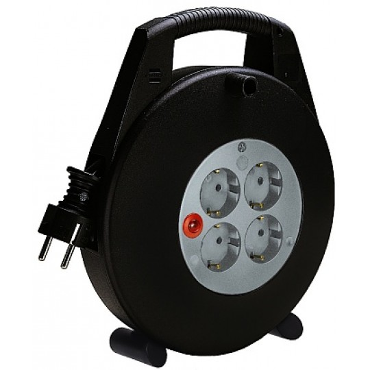 Brennenstuhl Vario Kabeltrommel 4 Schutzkontakt-Steckdosen 10m H07RN-F 3G1,5 IP20 schwarz/lichtgrau
