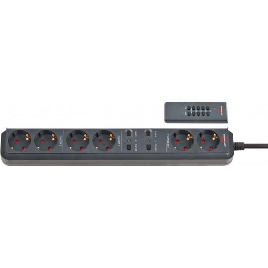 Brennenstuhl Eco-Line Funkschalt-Steckdosenleiste 6-fach anthrazit, 1,5m H05VV-F 3G1,5, 4-Kanal-Handsender