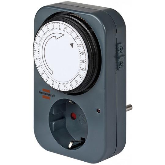 Brennenstuhl mechanische Zeitschaltuhr MZ 20, Timer-Steckdose mit Kindersicherung grau