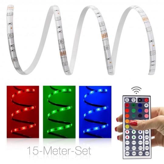 Comfort 12V RGB LED Streifen 15m Set 30 LED/m - mit 44-Tasten-Infrarotfernbedienung
