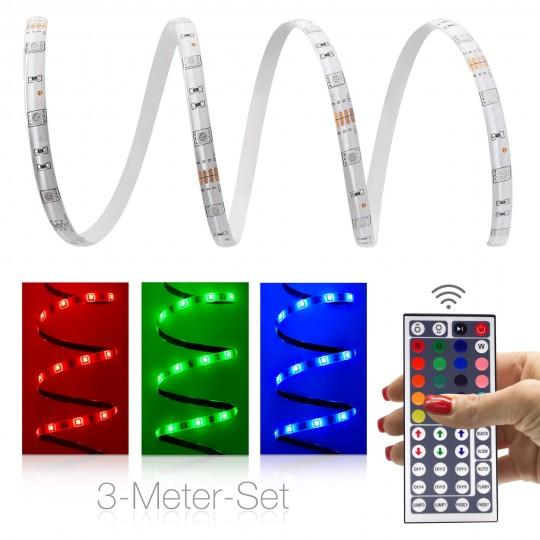 Comfort 12V RGB LED Streifen 3m Set 30 LED/m - mit 44-Tasten-Infrarotfernbedienung