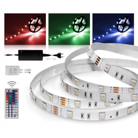 Classic 12V SELV RGB LED Streifen 10m Set 30 LED/m 44 Tasten Infrarot-Fernbedienung IR Controller 72W Netzteil  IP 20