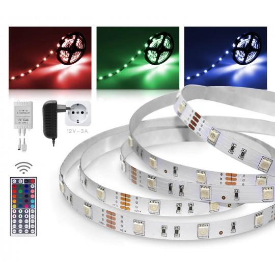 Classic 12V SELV RGB LED Streifen 5m Set 30 LED/m 44 Tasten Infrarot-Fernbedienung IR Controller 36W Netzteil  IP 20