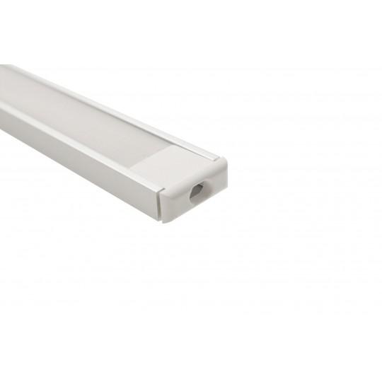 U-Profil | 15 x 6mm | Eloxiertes Aluminium | Matte Blende | Endkappe | Montageklammern - 1 Meter L??nge (Default)