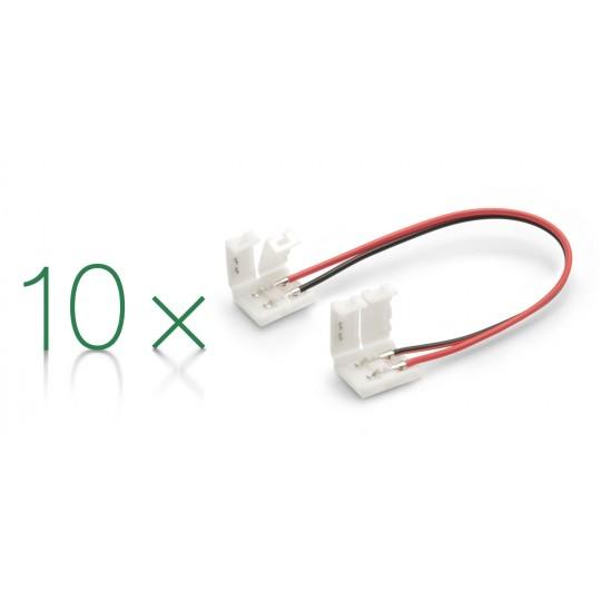 10er Set Verbinder 2 polig mit Klippbefestigung