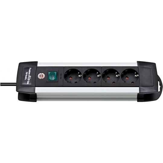 Premium-Alu-Line Steckdosenleiste 4-fach schwarz