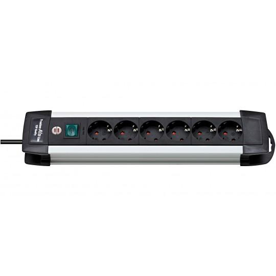 Premium-Alu-Line Steckdosenleiste 6-fach schwarz