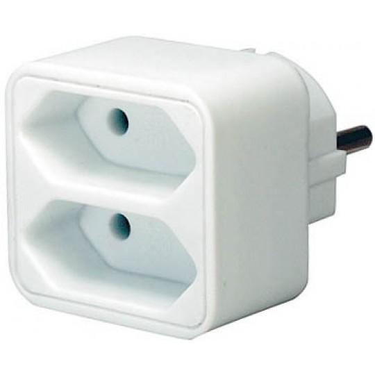 Adapterstecker mit zwei Eurosteckdosen weiß