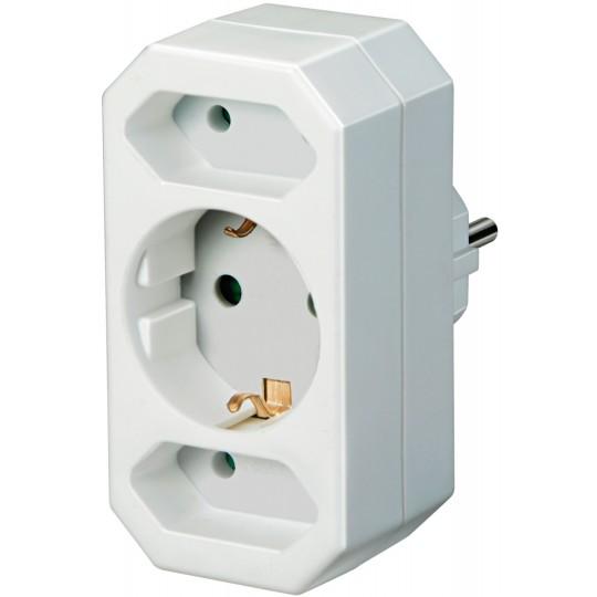 Adapterstecker 2 Eurosteckdosen 1 Schutzkontakt weiß
