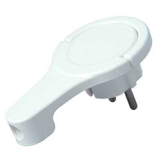 Schutzkontakt-Winkelstecker mit Bügel, 8mm flach, weiß