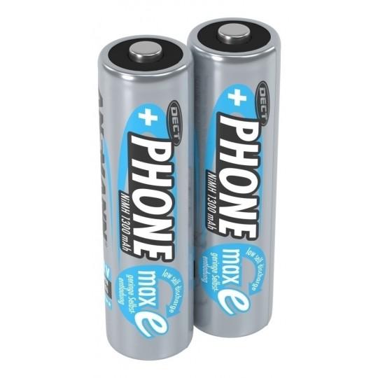 NiMH Akku Batterie für Schnurlostelefon Mignon AA 1,2V 1300mAh maxE (2er Pack)