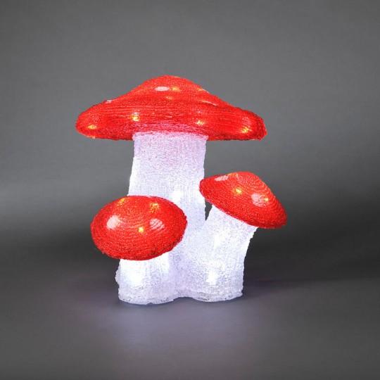 LED Fliegenpilz 3er Set: Gartenleuchte und Dekolicht aus Acryl, 25,5cm hoch