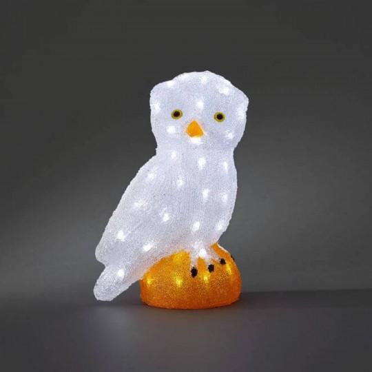 LED Eule groß: Gartenleuchte und Dekolicht aus Acryl, 36cm hoch