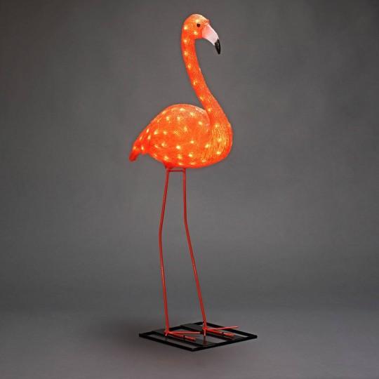 LED Flamingo: Gartenleuchte und Dekolicht aus Acryl, 110cm hoch