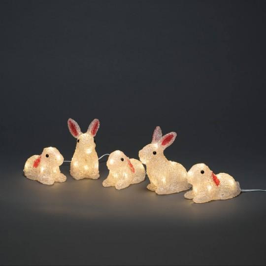 LED Hasen 5er Set: Gartenleuchte und Dekolicht aus Acryl, 75cm hoch