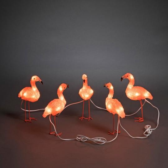LED Flamingo 5er Set: Gartenleuchte und Dekolicht aus Acryl, 17cm hoch