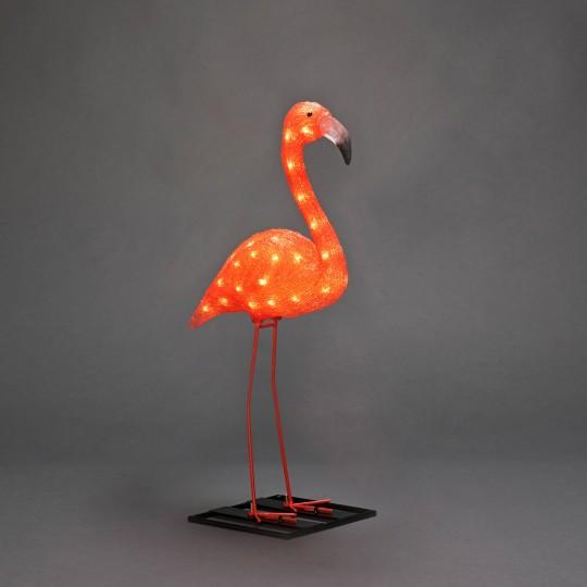 LED Flamingo: Gartenleuchte und Dekolicht aus Acryl, 70 cm hoch