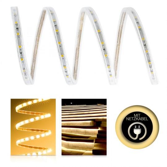 Professional High Power 230V LED Streifen Set warmweiß 60 LED/m