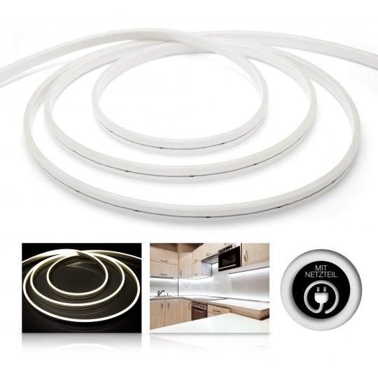 Premium 24V LED NeonFlex Streifen Set IP65 neutralweiß schmal Länge 1m - 10m