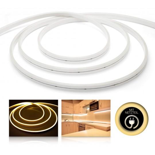 Premium 24V LED NeonFlex Streifen Set IP65 warmweiß schmal Länge 1m - 10m