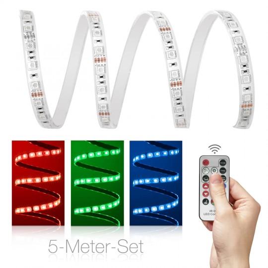 Comfort 12V RGB LED Streifen 5m IR-Set 60 LED/m mit Außentrafo
