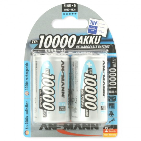 NiMH Akku Mono D Typ 10000 (2er Pack)
