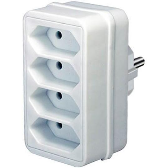 Adapterstecker mit vier Eurosteckdosen weiß