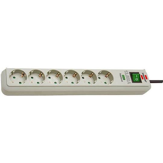 Eco-Line Überspannungsschutz-Steckdosenleiste 6-fach lichtgrau