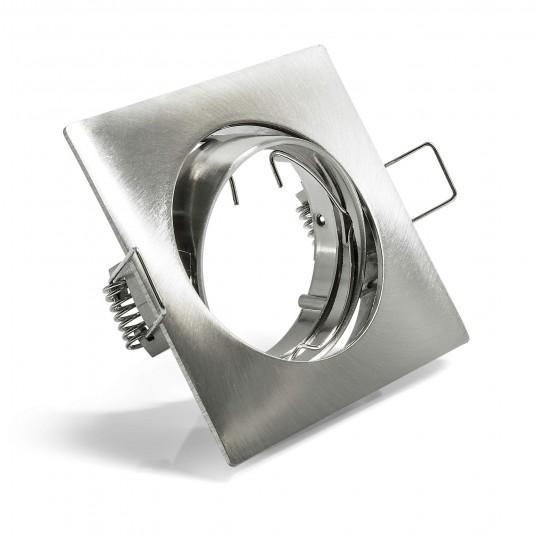 Schwenkbarer Einbauring für LED Spots–quadratisch–Edelstahloptik matt