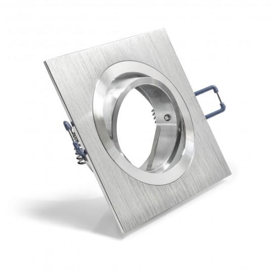Schwenkbarer Einbauring für LED Spots – quadratisch – Edelstahloptik