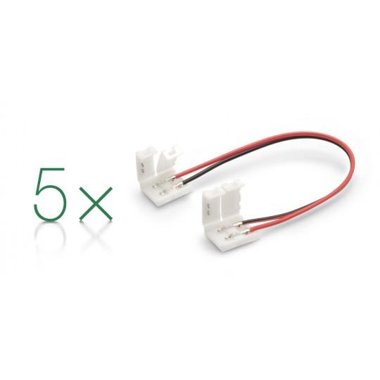 5er Set Verbinder 2 polig mit Klippbefestigung