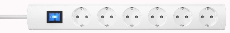 Universal 6-fach Steckdosenleiste mit Schalter, , 3m Kabel, weiß