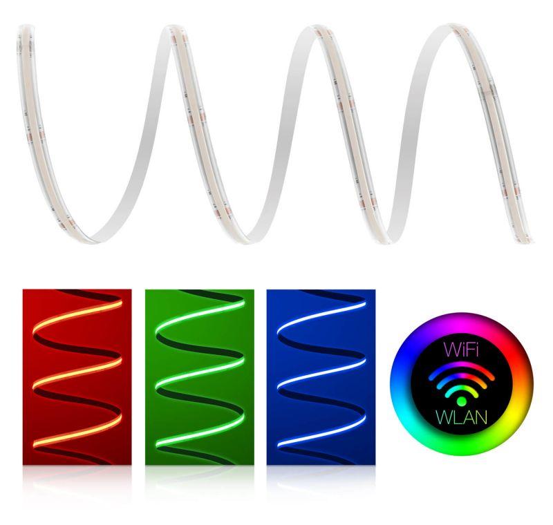 Premium 24V RGB COB LED Streifen IP65 WLAN-Set Magic Home & Netzteil 2m