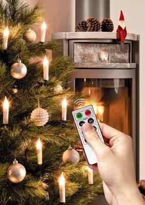 kabellose Weihnachtsbaumbeleuchtung: dimmbare batteriebetriebene LED Kerzen mit Fernbedienung und Timerfunktion (30er Set, warmweiß, mit verschiedenen Modi, drahtlos) inklusive Batterien