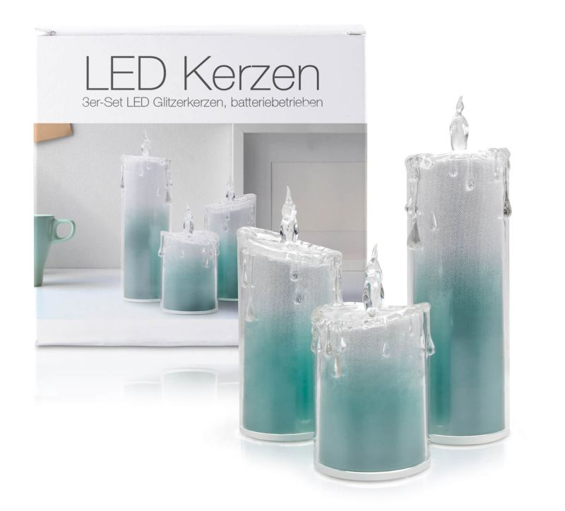 """LED Acryl Glitzer Kerze Türkis 3er Set """"Liza"""""""