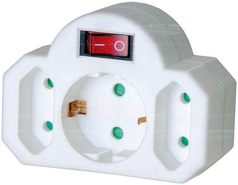 Mehrfachsteckdose, Steckdosenadapter 3-fach mit Schalter (Zwischenstecker bestehend aus 2 x Eurosteckdose & 1 x Schutzkontakt)